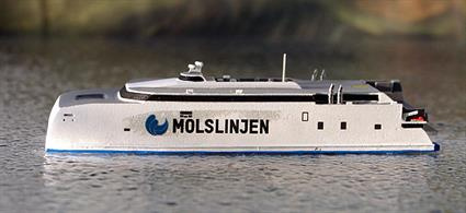 A 1/1250 scale model of HSC Express 4 on the Aarhus to Odden route by Rhenania Junior Miniatures RJ207.Express 4 is a new vessel built by Austal Ltd in Australia in 2018 for Mols Line and ready for service early in 2019 between the Danish city of Aarhus and Odden.