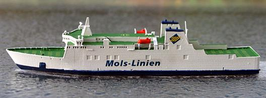 A 1/1250 scale model of car & passenger ferry Mette Mols by Rhenania Junior Miniatures RJ318.Mette Mols operated for Mols line until 2011 and is currently Tager Express operating from Morocco.