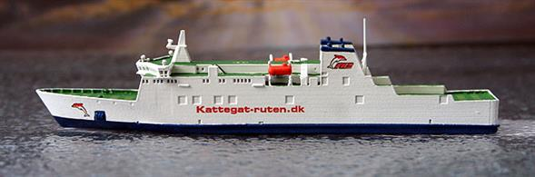 A 1/1250 scale model of Kattegat Ro-Ro ferry by Rhenania Junior Miniatures RJ318A.