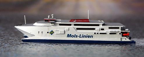 A 1/1250 scale model of Max Mols the high speed catamaran by Rhenania Junior Miniatures RJ246B. This model is in the livery of Mols line used on this vessel until 2018.