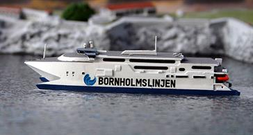 A 1/1250 scale model of Max Mols in Bornholm Line livery as in 2019.