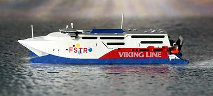 A 1/1250 scale metal model of Express in Viking Line colours by Rhenania Junior RJ245C. This ship is still wearing this livery in Autumn 2019.