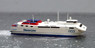 A 1/1250 scale model of HSS Stena Carisma when new in 1997 by Rhenania Junior Miniatures RJ324.