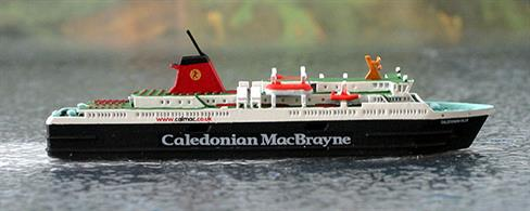 A 1/1250 scale model of Caledonian Isles by Rhenania Junior Miniatures RJ195.Caledonian Isles is the regular vessel on the Ardrossan to Brodick run to the Isle of Arran.