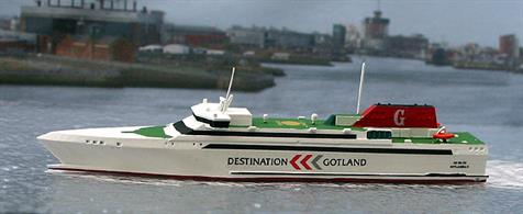 A 1/1250 scale model of Gotlandia II by Rhenania Junior Miniatures RJ226.