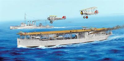 Single piece hull, detailed flight deck and hangar deck. Flight includes Martin BM-2 & T4M, Boeing F4B. L: 475.3mm, W: 72.6mm, 18 sprues + hull & decks, Total parts: 670+