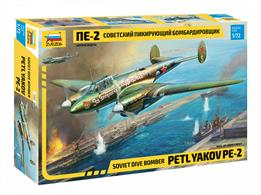 Zvezda 7283 1/72nd Petlyakov Pe2 Soviet WW2 Fighter Bomber KitNumber of Parts 199    Length 174mm