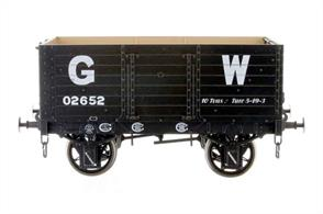 Highly detailed model of the first RCH standard design 7 plank open mineral wagon finished in GWR grey livery.The Gloucester RC&W Co had a large fleet of wagons available for short to medium term hire. The GWR took wagons on short term leases to cover immediate requirements while new wagons could be built. These leased wagons were allocated numbers prefixed with 0, sometimes called the 'duplicate list', to ensure numbers didn't exactly duplicate with an existing GWR liveried wagon.