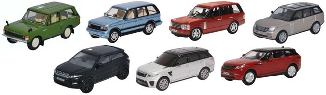 Oxford Diecast 76SET72 1/76th 7 Piece Range Rover SetClassic/P38/3rd Gen/Vogue/Evoque/Sport/Velar