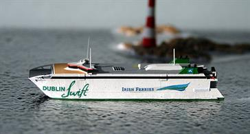 A 1/1250 scale model of Dublin Swift the fast ferry on the Holyhead to Dublin route by Rhenania Junior Miniatures RJ 341.
