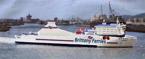 A 1/1250 scale model of Brittany Ferries Ro-Ro ship Cotentin by Rhenania Junior Miniatures RJ242.