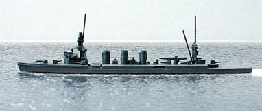 A 1/1250 scale second-hand model of a Kuma class light cruiser by Comet. The model is in good condition for its age in overall grey, see photograph.