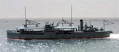 A 1/1250 scale model of the Japanese seaplane carrier Kamoi in 1938 by Spidernavy SN 2-17.Kamoi was a navy oiler built in USA in 1922 but was converted to a seaplane carrier in 1932-33 with a maximum capacity of 22 aircraft.