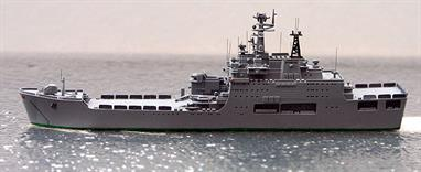A 1/1250 scale model of Soviet Union Project 1174 Nosorog (Rhino) landing ship Ivan Rogov by Spidernavy SN 3-16.