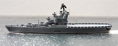 A 1/1250 scale model of Soviet Union helicopter carrie Leningrad by Spidernavy SN 3-18.Leningrad was the second and last member of the Moskva class ships and was based largely with the Black Sea Fleet although she did serve in the Atlantic, perhaps most notably in the rescue attempts for submarine K-19.