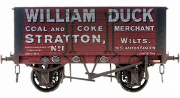Detailed model of a 7 plank open wagon following the RCH 1887 specifications and modelled from the production of the Gloucester Railway Carriage and Wagon Company.Finished in dark red livery as William Duck, coal and coke merchant of Stratton, Wiltshire wagon number 1.British Manufacturing. Dapol plan to be producing these models from their factory unit in Chirk.