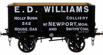 Detailed model of a 7 plank open wagon following the RCH 1887 specifications and modelled from the production of the Gloucester Railway Carriage and Wagon Company.Finished as wagon 242 operated by E.D. Williams, owners of the Holly Bush Colliery near Newport, Monmouthshire.