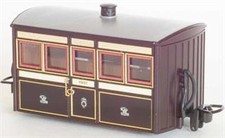 Detailed model of the Festiniog Railway 'Bug Box' first class coach. A typical early Victorian era design of 4-wheel narrow gauge coach.Victorian purple-brown livery.