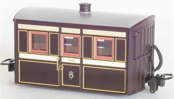 Detailed model of the Festiniog Railway 'Bug Box' enclosed third class coach. A typical early Victorian era design of 4-wheel narrow gauge coach.Victorian purple-brown livery.