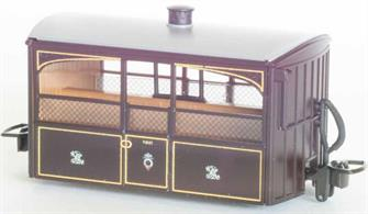 Detailed model of the Festiniog Railway open sided observation 'Bug Box' coach. A typical early Victorian era design of 4-wheel narrow gauge coach.Victorian purple-brown livery.