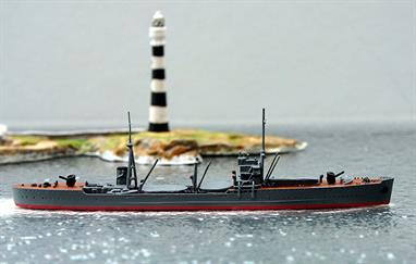 A 1/1250 scale model of IJN Kashino a munitions transport from 1940-42 by Navis Neptun 1297S. This model has hand painted tan coloured decks and grey hatch covers, see photograph.