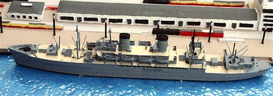 A 1/1250 scale model of USS General William O. Darby a troop transport of the MSTS in 1950 by Solent Models SOM19a. This model has painted wood-effect decks and details compared to the standard SOM19 model, see photograph.