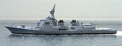 A 1/1250 scale second-hand model of Kongo a guided missile cruiser of the Japanese Maritime Defence Force in 1993 by Hai 341. This model is in very good condition in overall dark grey and decal on the helicopter landing deck, see photograph.