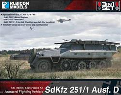This highly detailed SdKfz 251 Ausf D is a 3-in-1 plastic kit which can be built to represent a SdKfz 251/7 Assault Engineering vehicle, SdKfz 251/8 Ambulance or SdKfz 251/10 with 37mm PaK 36 anti-tank gun.Number of Parts: 64 pieces / 3 sprues