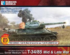 With this model kit, you can assemble the T-34/85 into either a Model 1943 or 1944 version of the tank.  It comes with 2 turret top and 2 mantlet choices with oil drums & accessories options; and can be built as an OT-34/85 flamethrower tank as an option.Number of Parts: 50 pieces / 3 sprues