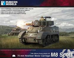 The M8 75mm Howitzer Motor Carriage (HMC) was based on the M5 (Stuart) chassis. It was intended to provide indirect fire support for armoured reconnaissance units. A total of 1,778 M8s were produced from Sept 42 to Jan 44. The M8 was used by the US Army and Free French in Italy and Northwest Europe, and by the US Army in the Pacific. Eventually replaced by the M4 (105mm) and M7 Priest, it saw service after WW2 with the French Expeditionary Force in Vietnam & Algeria.