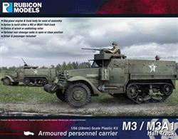 This 2-sprue base kit for the M3 Half-track comes with choices to build either a M3 or M3A1 version. Optional fittings included a Tulsa Model 18G winch, unditching roller, open or closed rear stowage racks with metal boxes, front armoured louvers in open or close position, and various machine gun (both MMG and HMG) choices. Driver and passenger included!Number of Parts: 55 pieces / 2 sprues