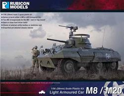 The M8 Greyhound light armoured car entered combat service with the Allies in 1943. It was purpose designed to serve as the primary basic command and communication combat vehicle of the US Cavalry Reconnaissance TroopsNumber of Parts: 53 pieces / 2 sprues