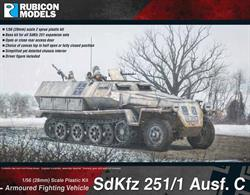 This highly detailed plastic kit depicts an SdKfz 251 Ausf C version.  It comes with two machine gun choices; open or close rear access door, and a half open or fully closed canvas top (tarp) option. Base kit for a number of optional expansion packs.Number of Parts: 2 sprues