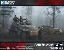 This kit builds the early or 'Alte' (old) version of the DEMAG built SdKfz 250 light armoured half track. The kit can also be built as the fully enclosed version, SdKfz 253.Number of Parts: 62 pieces / 2 sprues