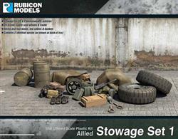 Allied armoured vehicle stowage and accessory pack including oil drums, spare road wheels & tracks, ammunition and tool boxes, tow cables & buckets