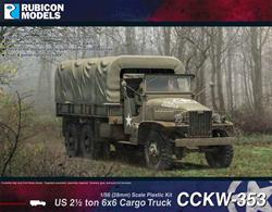 This highly detailed plastic kit builds a 2½ton 'Duece and a Half' GMC CCKW-353 6x6 truck with an open cab and optional canvas roof. It can be assembled with or without the machine gun ring mount and winch. The kit also includes an optional canvas canopy, with a choice of an open or closed rear tarpaulin cover and tailgate.Number of Parts: 59 pieces / 2 sprues