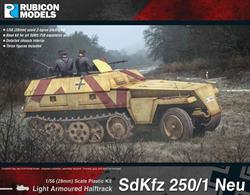 The SdKfz 250 was a light armoured halftrack built by DEMAG for use by Germany in World War II. Most variants were open-topped and had a single access door in the rear. Production of the later Neu (new) version SdKfz 250 commenced in autumn 1943.Number of Parts: 69 pieces / 2 sprues