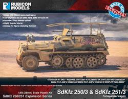Expansion kit only. Suitable for use with SdKfz 250/251 kits 280018, 280031, 280032, 280038.This expansion pack provides the parts needed to model the Funkpanzerwagen communications version of the SDKfz 250 or SdKfz 251. These were often used as command vehicles, i8ncluding the famous Grief used by Rommel in the North Africa campaign.Number of Parts: 46 pieces plus 2 figure sprues