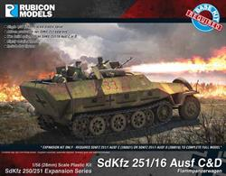 Expansion kit only. Suitable for use with SdKfz 250/251 kits 280018, 280031.This expansion pack allow the SdKfz 251 Ausf C or D half track to be modelled equipped with a flame thrower as a SdKfz 251/16 Flammpanzerwaggen. Number of Parts: 25 pieces