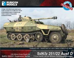 Expansion kit only. Suitable for use with SdKfz 251 Ausf D kit 280018.This expansion pack allows the SdKfz 251/22 Ausf D PaKwagon ith a 7.5cm PaK40 (L/46 or L/48) anti-tank gun mounted to be modelled using the SdKfz 251 Ausf D kit 280018.Number of Parts: 29 pieces with loader and gunner figures