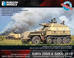 Expansion kit only. Suitable for use with SdKfz 250/251 kits 280018, 280031, 280038.This expansion pack supplies the parts needed to convert SdKfz 250 or SdKfz 251 half track kits to the SdKfz 280/8 or SdKfz 251/9 self propelled gun with 75cm short barrel howitzers. Parts are supplied to convert 2 vehicles.Number of Parts: 41 pieces plus 2 figure sprues