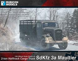 This kit builds a German SdKfz 3a Maultier half track truck, based on the 3 ton Opel Blitz truck. The trucks were modified to half-tracks to provide vehicles better suited to the very poor road conditions on the Eastern front. Number of Parts: 71 pieces / 3 sprues + 1 cab body
