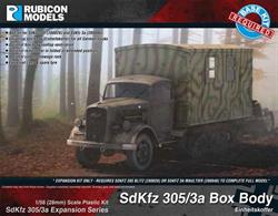 Expansion kit only. Suitable for use with SdKfz 305 Blitz and SdKfz 3A Maultier truck kits 280026 and 280046.This expansion pack builds a covered box body to fit the SdKfz 305 Blitz truck or SdKfz 3A Maultier half track with a choice of styles to suit the role needed.Number of Parts: 41 pieces / 1 sprue