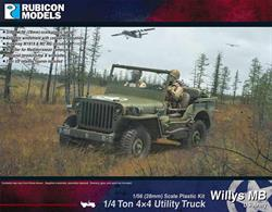 Nicely detailed kit for the widely used US Army Willys MB Jeep 1/4ton 4 wheel drive utility vehicle, used as a light truck, staff car, command and reconnaissance vehicle and often fitted with a heavy machine gun to provide fire support/suppression in all theatres.Number of Parts: 69 pieces / 1 sprue + 2 multi-slide parts + 2 figure sprues
