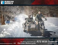 This kit builds a model of the BMW R75 motorcycle with side car, as used by despatch riders and patrols of the German Wehrmarcht. Optional leather or metal stowage cases and a choice of MG34 or MG42 machines guns are provided.Number of Parts: 45 pieces / 1 sprue + 2 figure sprues