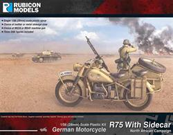 This kit builds a model of the BMW R75 motorcycle with side car, as used by the Afrika Korps (DAK Deutsches Afrikakorps). Optional leather or metal stowage cases and a choice of MG34 or MG42 machines guns are provided.Number of Parts: 45 pieces / 1 sprue + 2 figure sprues