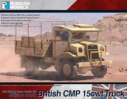 This kit builds a model of the British CMP 15cwt cargo truck, a type made in Canada for British and allied commonwealth forces which saw service in campaigns and on the home fronts across the world. Optional open or closed hatches and tarpaulin covers are supplied.Number of Parts: 57 pieces / 2 sprues + 1 cab body + 1 tarpaulin top