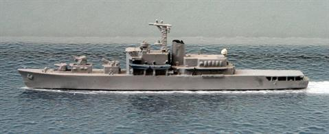 A 1/1250 scale second-hand model of JMDF training ship Katori in 1969 by Hai 107. This model is in good condition in overall light grey, see photograph.