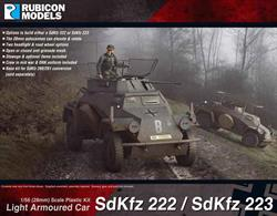This kit can be built as either a SdKfz 222 with 20mm KwK L/55 cannon or SdKfz 223 with frame radio antenna light armoured scout car. The kit also porvides the base vehicle for conversion to the unarmed SdKfz 260/261 radio communications vehicles.