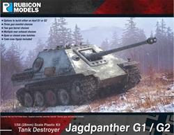 Based on the Panther chassis the SdKfz173 Jagdpanther was a heavily armoured tank destroyer with the long barrelled 88mm PaK 43/3 gun mounted in the hull. This kit allows either the Ausf G1 or Ausf G2 versions to be built with choices of three mantlets and two gun barrels.